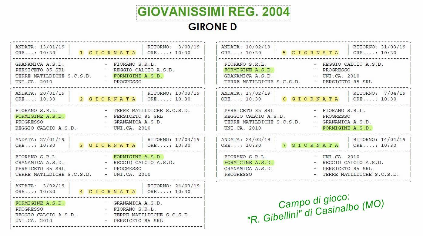 7 Cal. GIOVANISSIMI REG. 2018-2019
