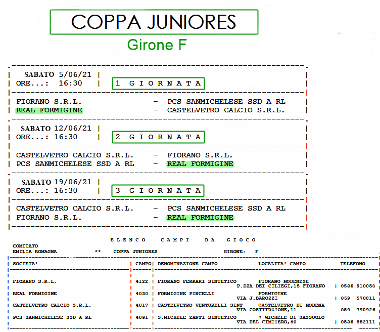 Calendario Copppa Juniores - F -